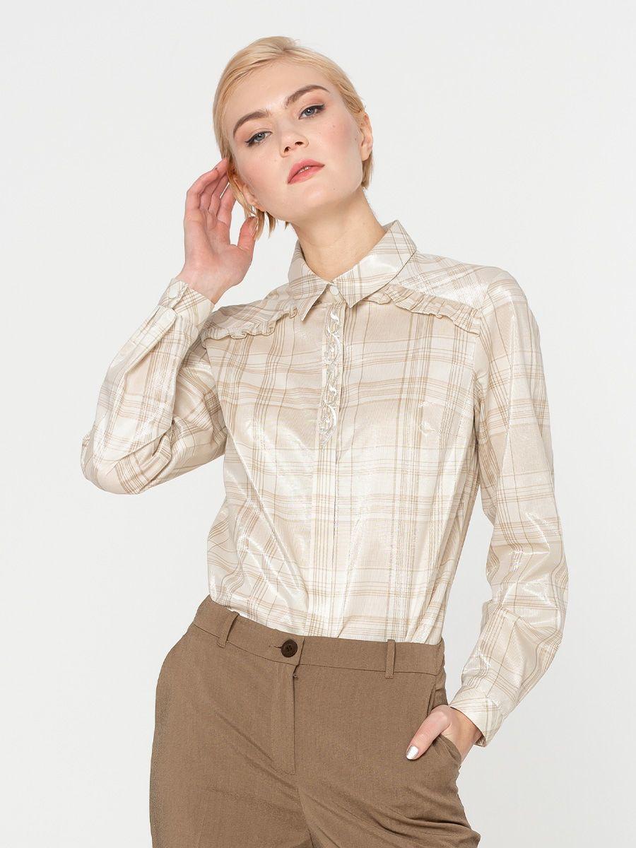 Блуза Г615-578 - Блуза классической формы, с длинными рукавами. Плечевая кокетка обработана рюшей из основной ткани, на планке фигурная вышивка в тон. Эта модель  будет уместна на торжественных и официальных мероприятиях. Так же отлично смотрится в классическом, деловом образе.