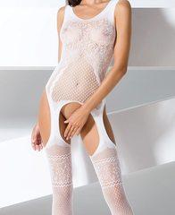 Сексуальный боди комбинезон из ажурной сетки (061) белый