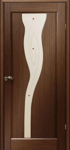 Дверь Мадрид ПО (тёмный орех, остекленная шпонированная), фабрика LiGa