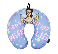 Подушка-подголовник «Happy Wife», голубая 1