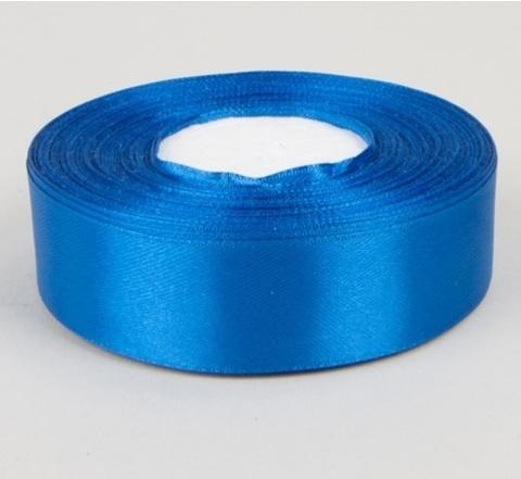 Лента атласная (размер 25 мм х 30 м) Цвет: синяя