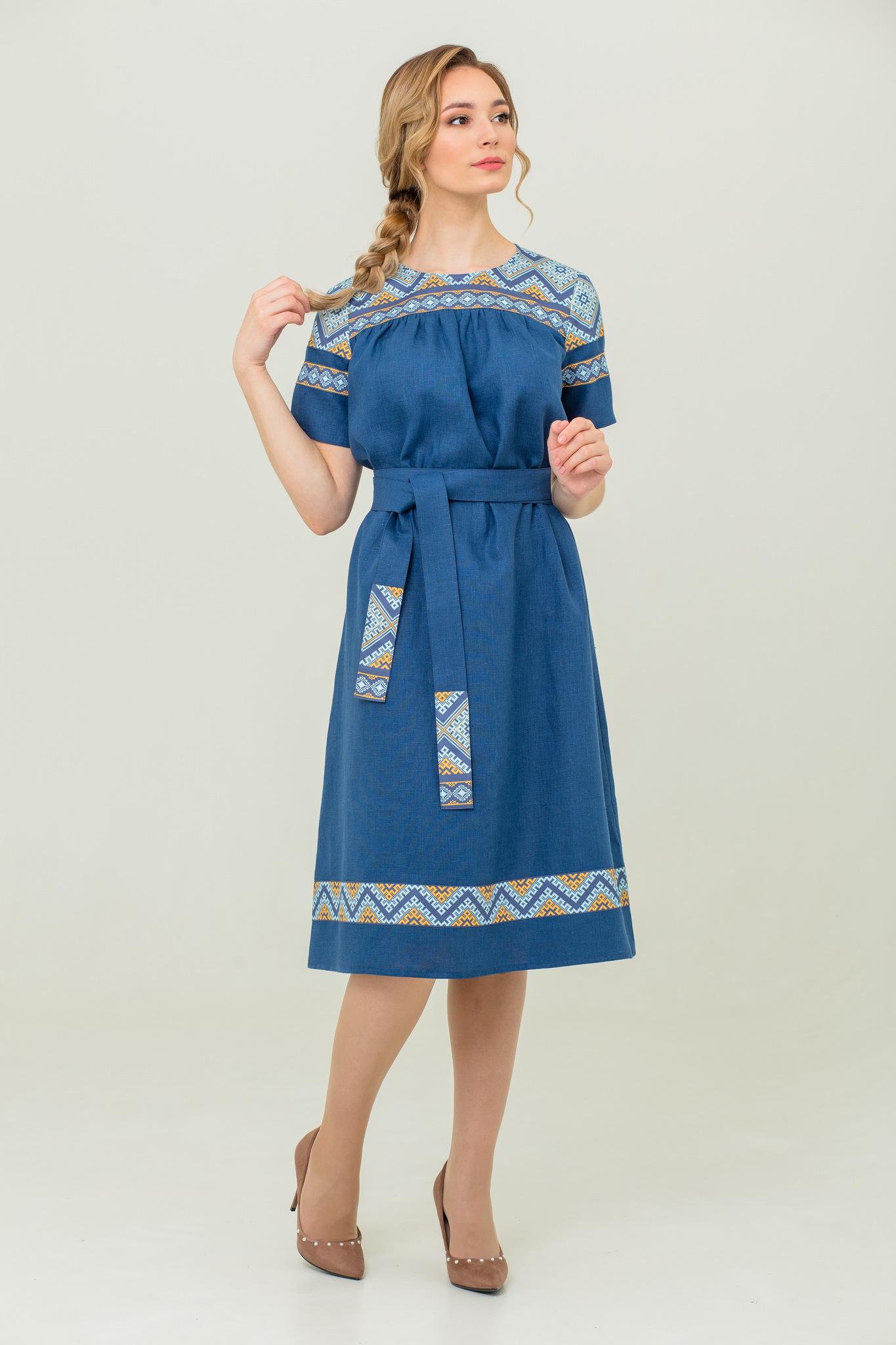 льняное платье в русском стиле Каспийское