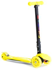 Самокат трехколесный для детей 3-12 лет, макс. нагрузка 80 кг, BIBITU PLAY SKL-07D , cкладной, желтый