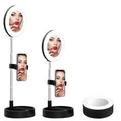 Селфи лампа-зеркало на штативе с держателем для телефона