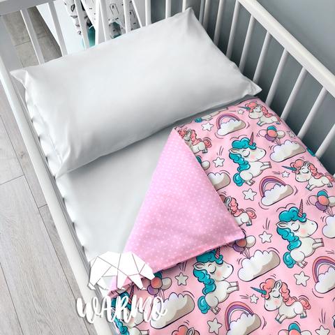 Підодіяльник дитячий 110 на 140 см з рожевими єдинорогами фото
