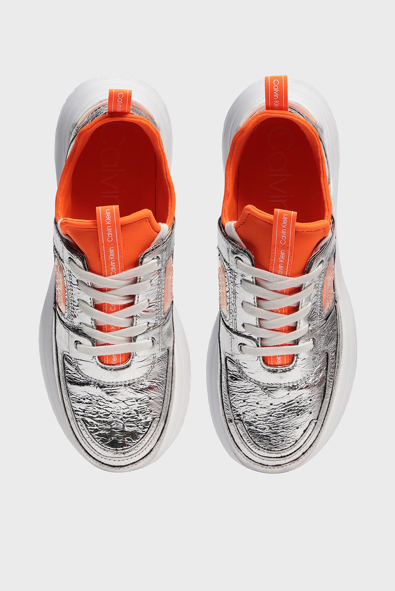 Женские серебристые кожаные кроссовки ULTRA Calvin Klein