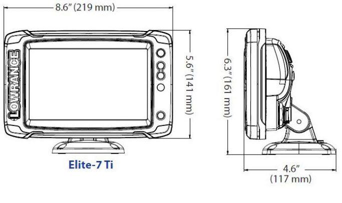 размеры lowrance Elite-7 Ti