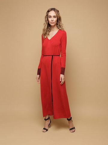 Женское платье красного цвета из шерсти и шелка - фото 2