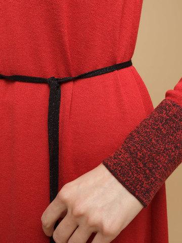 Женское платье красного цвета из шерсти и шелка - фото 7
