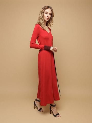 Женское платье красного цвета из шерсти и шелка - фото 3