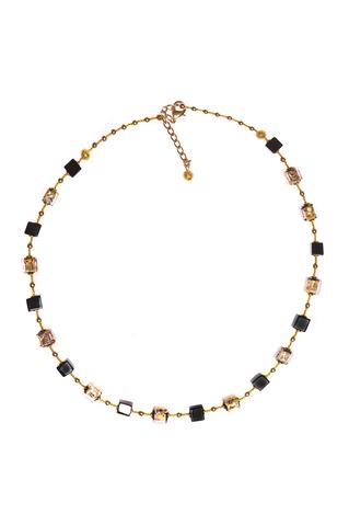 Ожерелье из муранского стекла Arlecchino Cubo золотистое