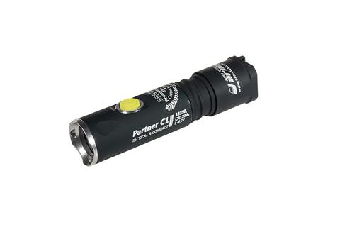 Фонарь светодиодный тактический Armytek Partner C1 Pro v3, 740 лм, теплый свет, 1-CR123A