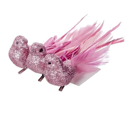 Набор птичек на прищепках 3 шт, 12см, цвет:розовый