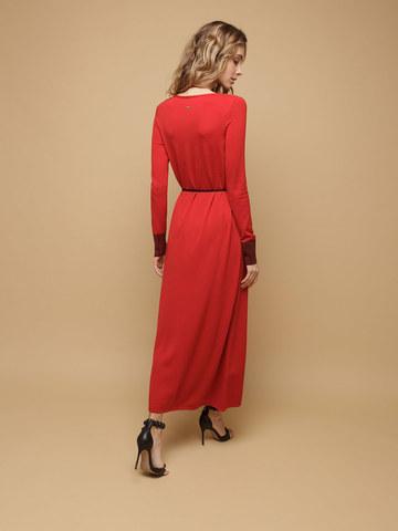 Женское платье красного цвета из шерсти и шелка - фото 4