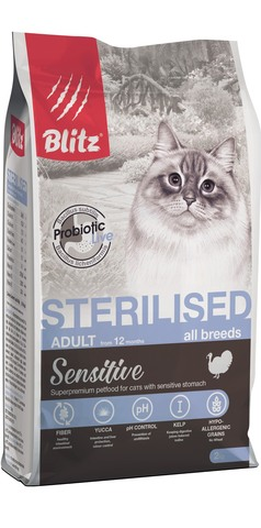 купить Blitz Sterilised сухой корм для стерилизованных кошек с индейкой 2 кг