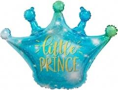 Шар (30''/76 см) Фигура, Корона, Маленький Принц (искорки звезд), Голубой, Градиент, 1 шт.