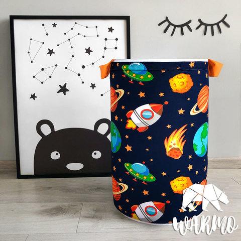 кошик для іграшок з космічним малюнком фото