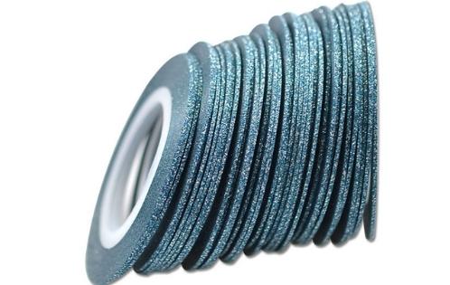 Лента самоклеющаяся голубой глиттер 1мм