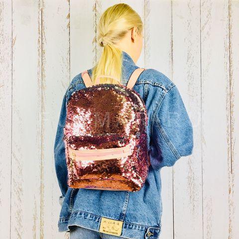 Рюкзак детский  с пайетками меняющий цвет Розовый-Серебристый Большой