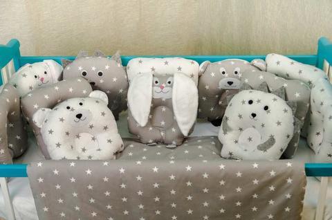 Комплект постельного белья для новорождённых Лесные зверята 09-02 серый