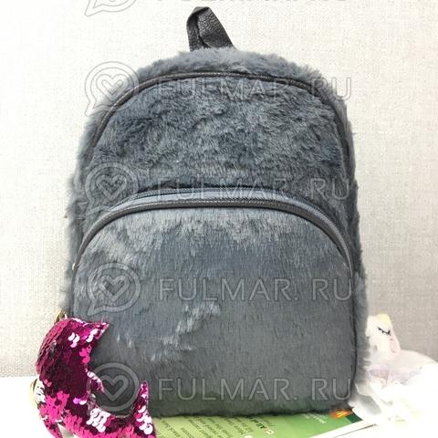 Рюкзак плюшевый Серый и брелок дельфин в двусторонних пайетках