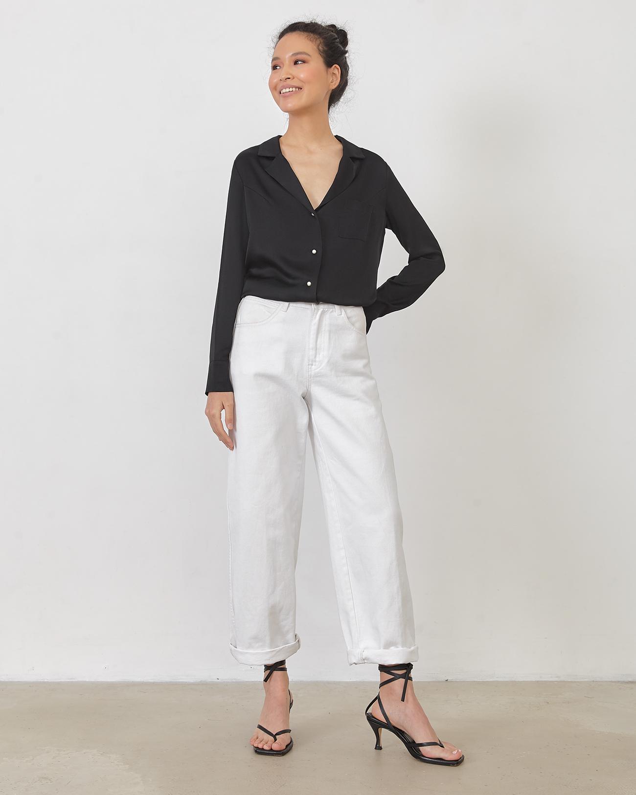 Блуза на пуговицах черного цвета фото