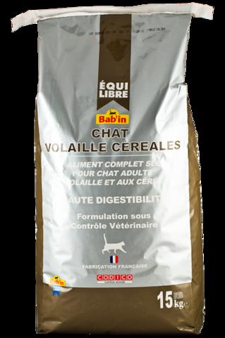 EQUIILIBRE CHAT POULET CEREALES (для взрослых кошек всех пород на основе курицы и зерна, гранулы 5-8 мм, 30/12) 3 кг