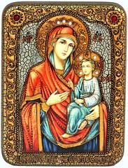 Инкрустированная рукописная икона Божией Матери Скоропослушница 20х15см на натуральном дереве, в подарочной коробке