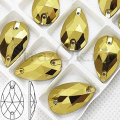 Купить оптом золотые пришивные стразы в форме капли Gold, Drope