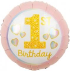 Шар (18''/46 см) Круг, 1-ый День Рождения Девочки (радужные сердечки), Розовый, 1 шт.