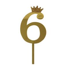 Y Топпер цифра 6 Корона GOLD 18см, 1шт.