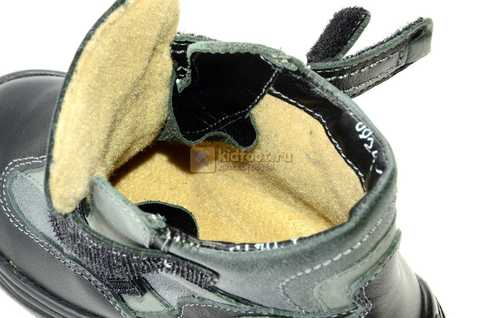 Ботинки Тотто из натуральной кожи демисезонные на байке для мальчиков, цвет черный. Изображение 11 из 11.