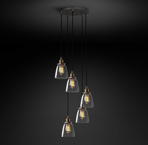 Подвесной светильник копия 20th C. Factory Filament Clear Glass Cloche Round  Pendant by Restoration Hardware