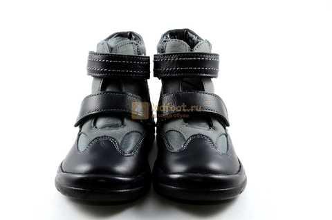 Ботинки Тотто из натуральной кожи демисезонные на байке для мальчиков, цвет черный. Изображение 5 из 11.