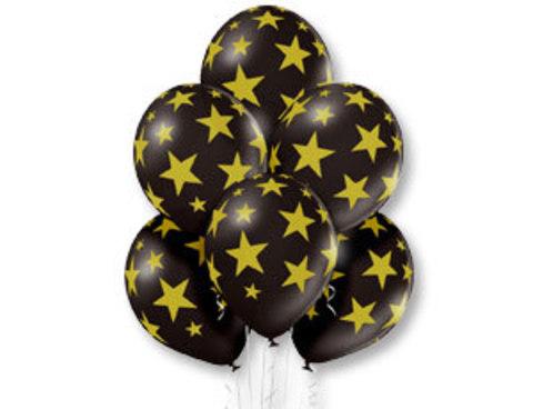Черные шары с золотыми звездами