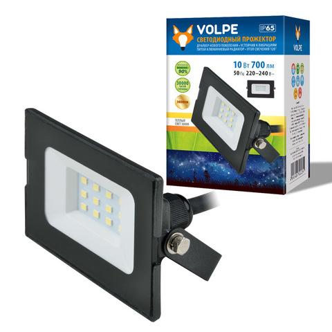 ULF-Q513 10W/3000K IP65 220-240В BLACK Прожектор светодиодный. Теплый белый свет (3000К). Корпус черный. TM Volpe.