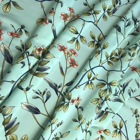 шелк бирюзовый с мелкими цветами