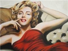 Картина раскраска по номерам 40x50 Мерлин Монро в маленьком красном платье