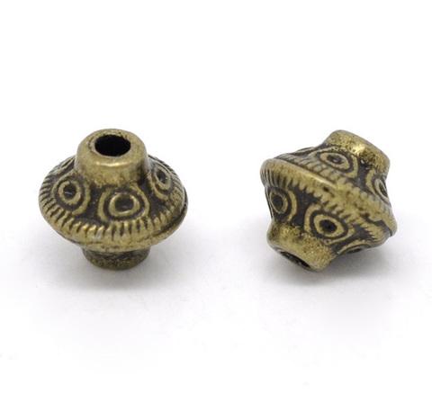 "Бусина металлическая - биконус ""Кружочки"" 7х6 мм (цвет - античная бронза), 10 штук (B14499A)"