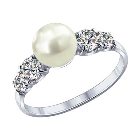 94011762 - Кольцо из серебра с жемчугом и фианитами