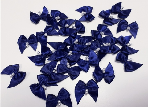 Бантики, темно-синий с бусинкой, ВА-061.1,шт