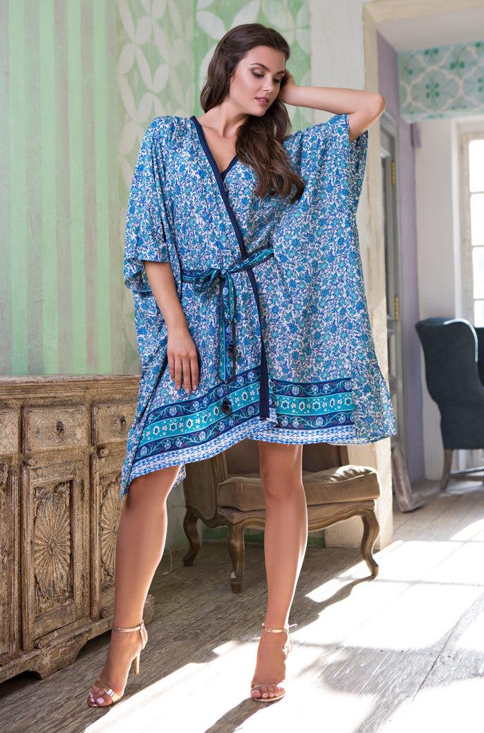 Легкие и вафельные халаты Женский хлопковый халат  MIA- MIA Santorini САНТОРИНИ 16127 16127_big.jpg