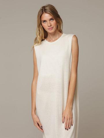 Женское белое платье свободного кроя без рукавов из 100% кашемира - фото 2