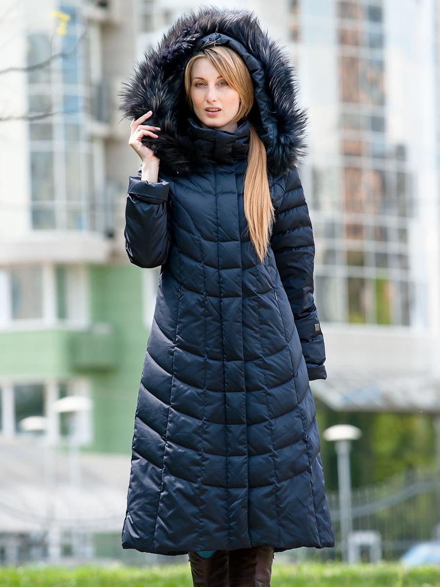Joutsen пуховик Noora с мехом темно-синий - Фото 1
