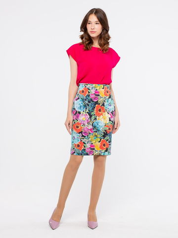 Фото летняя юбка с цветочным принтом и боковыми карманами - Юбка Б028-133 (1)
