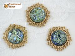 Камни круглые Битое стекло в ажурной золотой оправе изумрудные