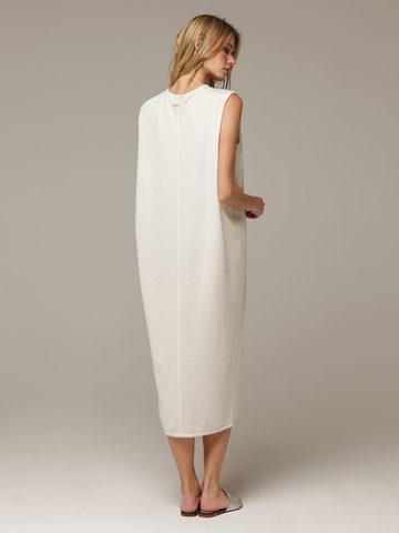 Женское белое платье свободного кроя без рукавов из 100% кашемира - фото 3