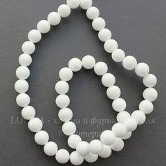 Бусина Жадеит, шарик, цвет- белый, 6 мм, нить