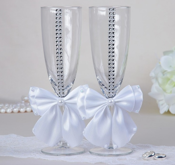 Набор свадебных бокалов «Элит», с бантом и стразами, белые
