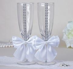 Набор свадебных бокалов «Элит», с бантом и стразами, белые, фото 1